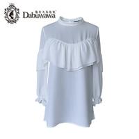 Dabuwawa Autumn Two Colors 3 4 Sleeve Ruffle Shirts Casual Women Blouses Elegant