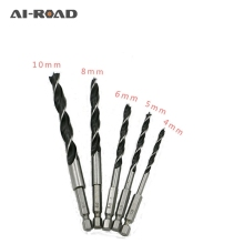 5PCS Drill Bit Set 4mm 5mm 6mm 8mm 10mm Change Metal Tools 1/4 Hex Shank Wood HCS Rustproof Woodworking Drill Hexagonal Shank