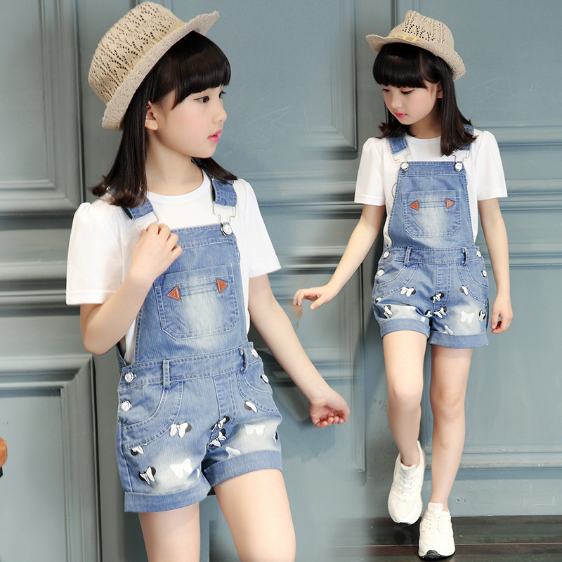kids tracksuit for girls clothes set T-shirt jeans short pants suit Denim overall children clothing set kids clothes 2018 summer