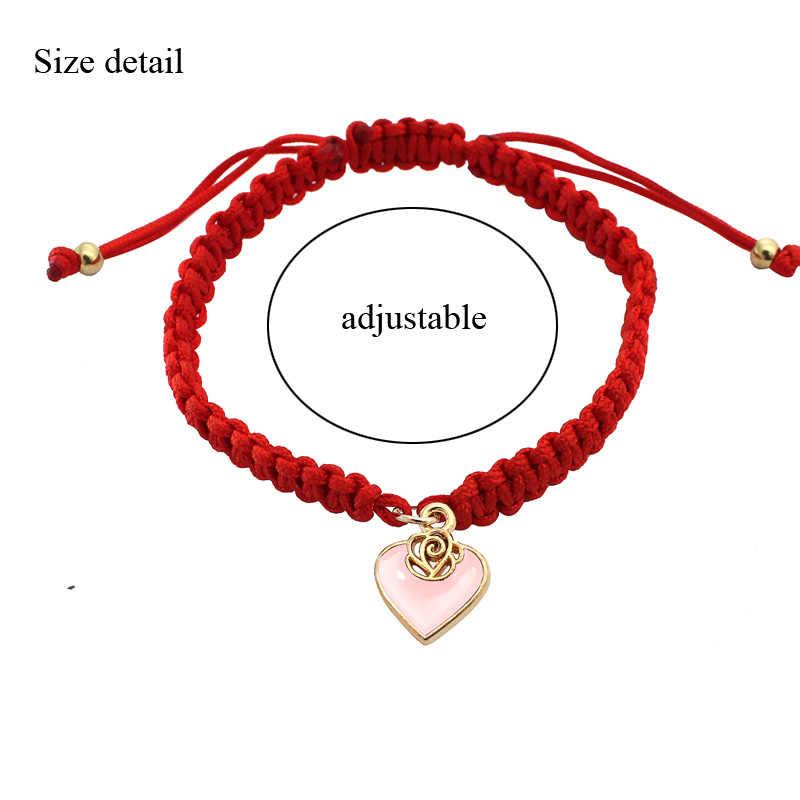 2019 赤糸ブレスレットハートチャームブレスレット女性手作り編組ロープ友情ジュエリーラッキー調整可能なファッション新