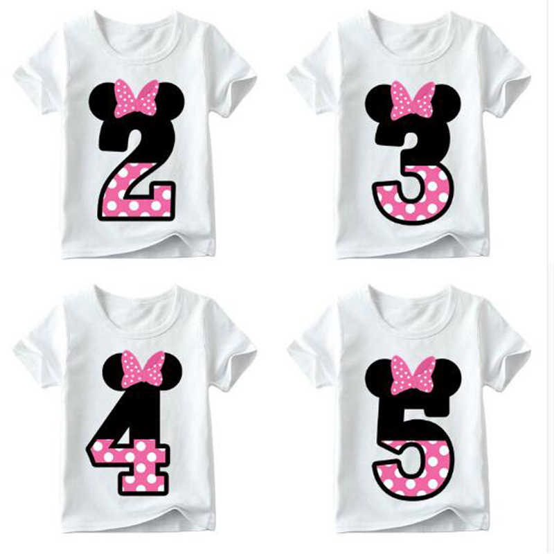 Baby Boy Girl Happy Birthday Letter Bow Cute Print Clothes Children Funny T-shirt Round Neck Cotton Children Number 1-9 Birthday