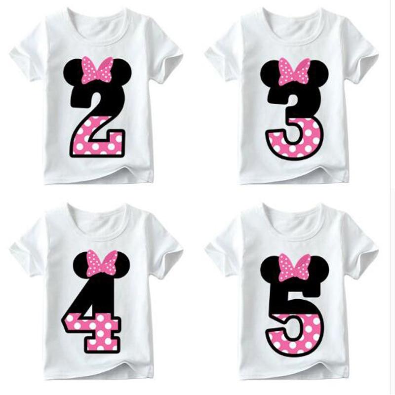 Baby Boy Girl Happy Birthday Letter Bow Cute Print Clothes Children Funny T-shirt Round Neck Cotton Children Number 1-9 Birthday