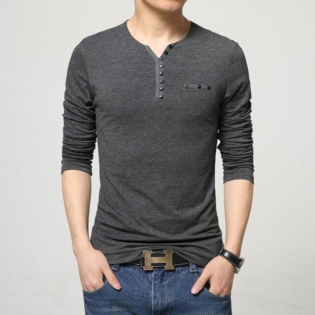 7e085d5a 2016 Fashion Mens Slim Fit Long Sleeve T-Shirts Stylish Luxury Men V Neck  Cotton