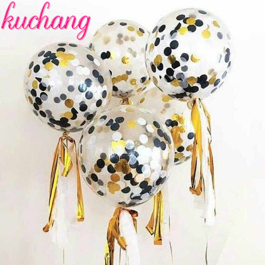10pcs 12inch gold black white confetti latex balloons 5pcs tassel wedding engagement birthday party baby shower decoration