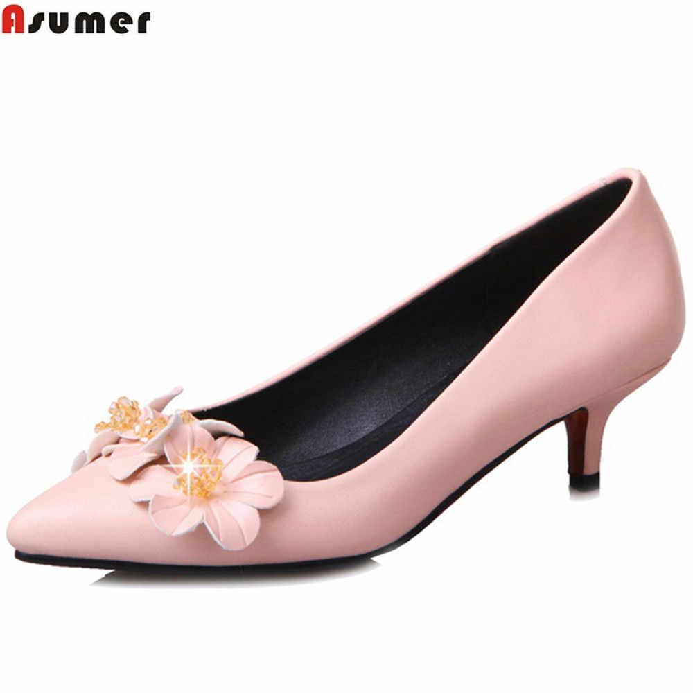 ASUMER schwarz rot rosa spitz flach blumen süße damen prom schuhe große größe 33-44 frauen high heels schuhe