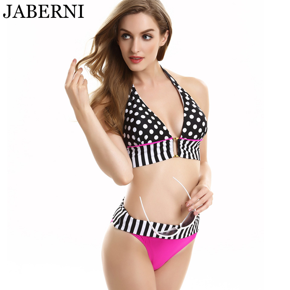 JABERNI brand bikinis women sexy swimwear dot stripe swimsuit low waist bikini set halter bathing suits with padded RS677 sexy black halter low waist wrap bikini for women