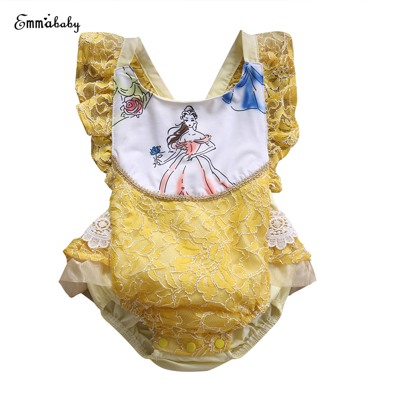 купить Cute Baby Girls Lace Romper Summer Hot Sale Newborn Kids Girls Beauty And the Beast Romper 2017 New Bebes Jumpsuit Baby Clothing