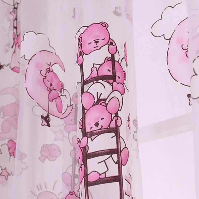 Children Bear Pattern Curtain Yarn Printed Organdy Net Curtains Room Voile Curtain  For Princess Room Tulle Window Treatment