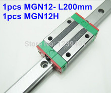 цена на 1pcs MGN12 L200mm linear rail + 1pcs MGN12H carriage