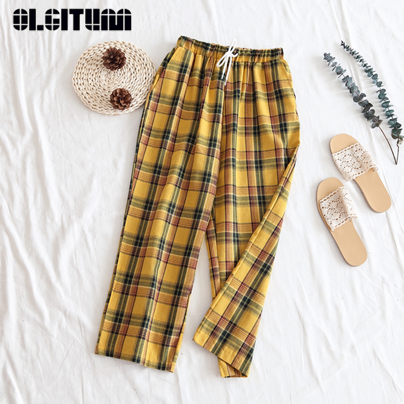 New 2019 Summer Casual Style Women Yellow   Pants   High Waist Drawstring Plaid   Wide     Leg     Pants   Cotton   Pant   Bottom PT177