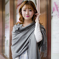 Women Fashion Winter Warm Thermal Imitation Cashmere Tassel Solid Color Long Scarves Shawl Wraps Pashmina 180*70cm LJ006