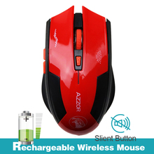 Rechargeable Wireless Mouse Slient Button Computer Gaming 2400DPI Built-in Battery with Charging Cable For PC Laptop