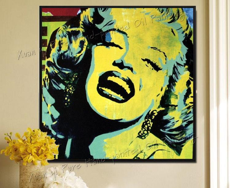 Dipinta a mano della Tela di Canapa Pittura Marilyn Monroe Wall Art ...