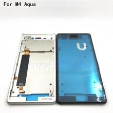 Original For Sony Xperia M4 Aqua E2303 E2333 E2353 Housing Front LCD Bezel Plate Frame Chassis + Dust Plug Port Cover+Sticker suprise cockfag ot o415 steel m4 dust cover black