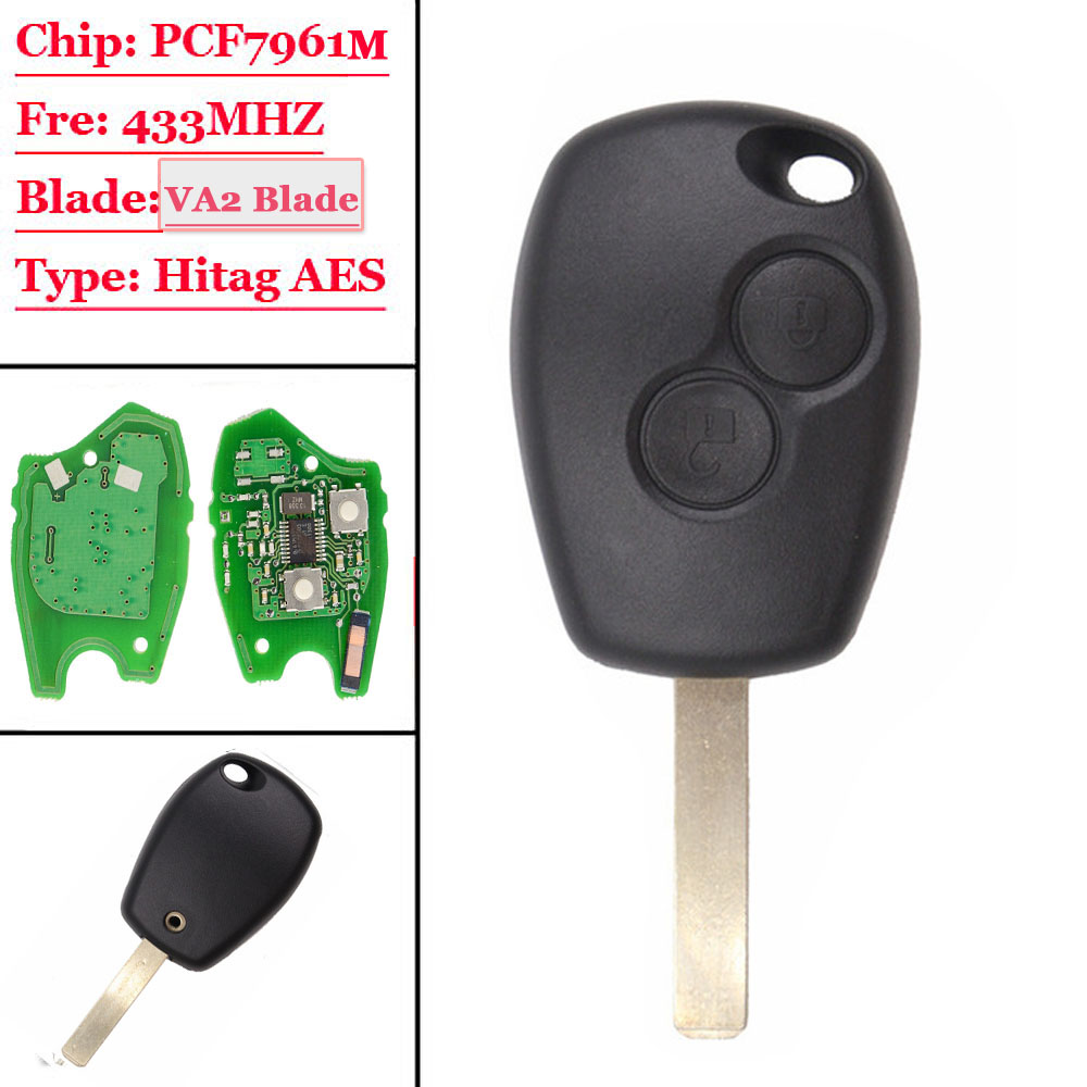 New(1Pcs) 2 Button Remote Car Key 433mhz With PCF7961M HITAG AES Chip VA2 Uncut Blade For Renault Logan II Sandero II