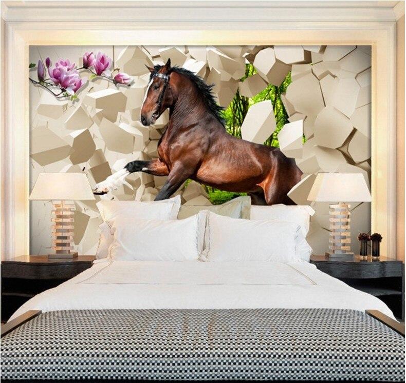 Livraison gratuite 3D salon canapé fond papier peint peintures murales restaurant sans couture galopant cheval personnalisé tailles photo papier peint