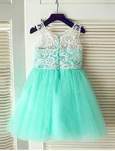 Green Lace vintage tulle ball gown flower girl dresses for weddings pageant dresses for little girls