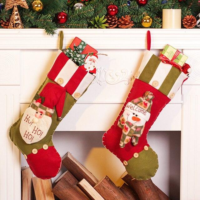 christmas stockings enfeites de natal hand making crafts children candy gift bag santa bag elk the - Where To Buy Christmas Stockings