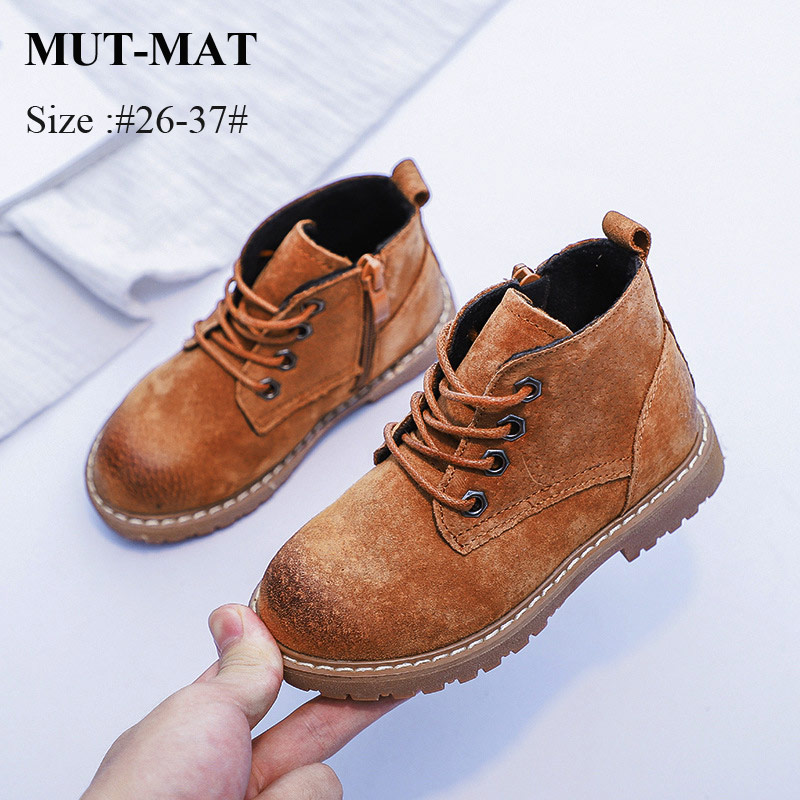 Mut-Mat Children Martin Boots Leather Boots Boys And Girls British Style Fashion  Boots Soft Bottom Princess Boots