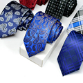 Fashion Polyester Silk Striped & Paisley Neck Tie 7cm Skinny Neckties Wedding Business Suits Ties for Men Gravatas Corbatas Gift