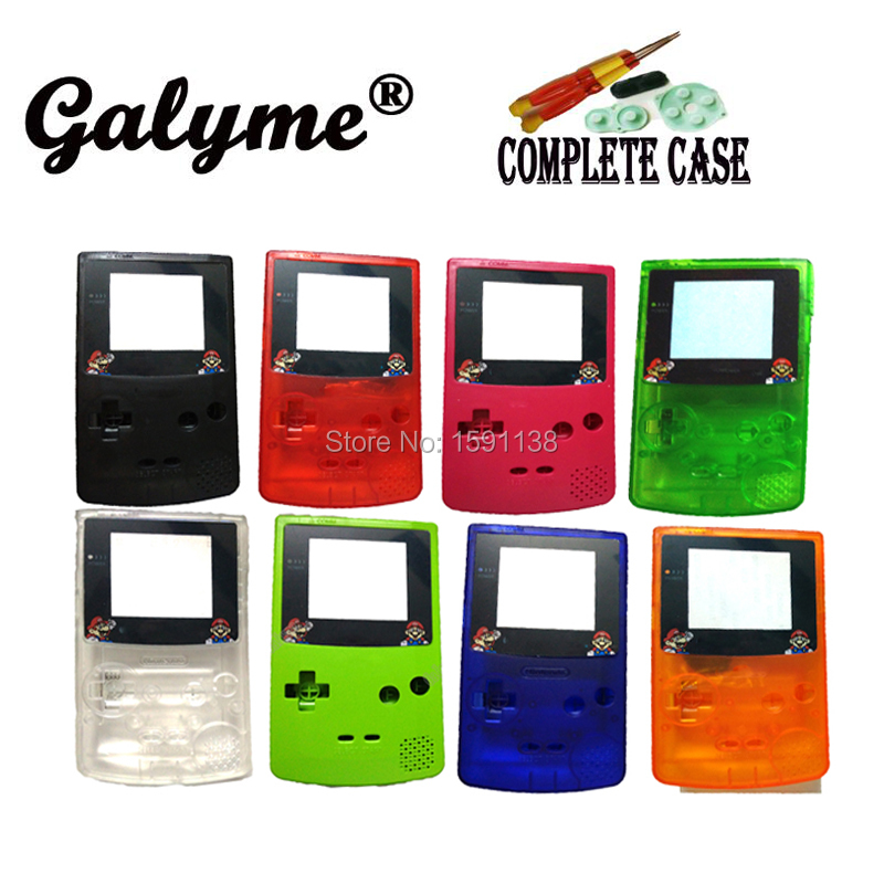 Multi-Color Plastic Marry Bros Cartoon Screen Lens Shell Fit GameboyColor Repair Case Boy Color Game Console w/Buttons Screws