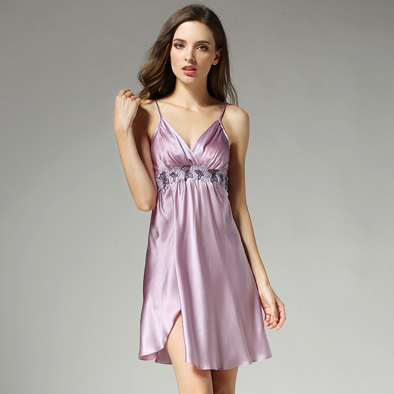 2019 Summer Women Silk Nightgowns Sexy Deep V Lace Nightdress 100 Mulberry Silk Sleepshirts Sleeveless Silk Sleepwear D12012 in Nightgowns Sleepshirts from Underwear Sleepwears