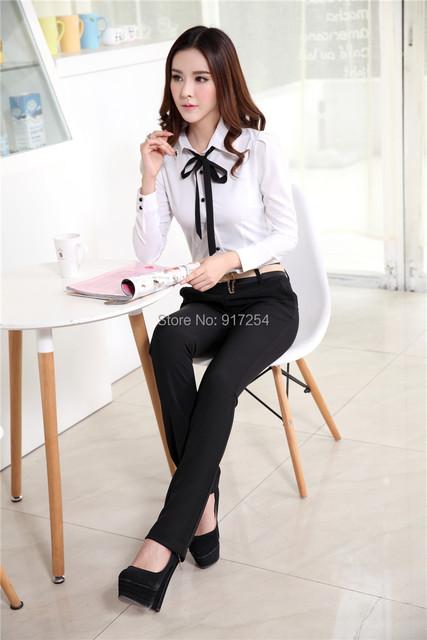 Novo 2015 Plus Size outono inverno Femininos escritório ternos com blusas e calças de trabalho profissional desgaste Formal terninhos