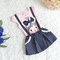 Envío gratis 1 unids al por menor de manga corta punto tirantes vestido de algodón lindo de la rodilla longitud de la princesa del vestido