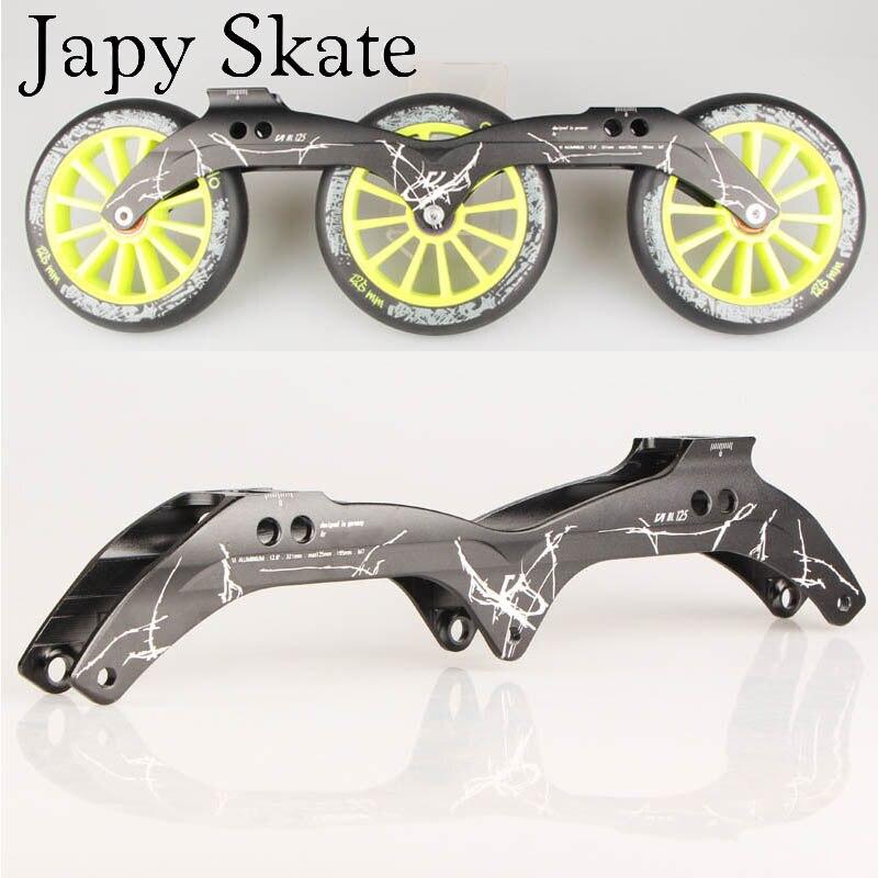 """Prix pour Jus japy Skate Powerslide Vi Al Patin de Vitesse en ligne Cadre 3*125mm 12.6 """"En Alliage D'aluminium Pour Vitesse De Patinage chaussures 195mm Distance Base"""