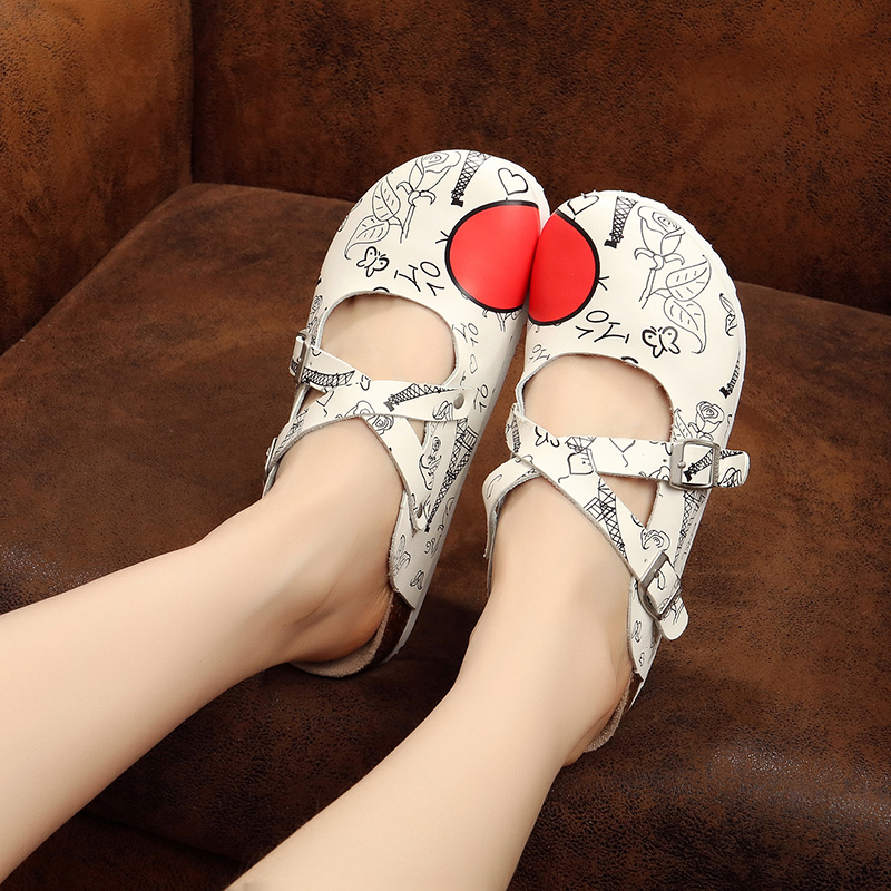 Cork Slippers Gilrs Sandals 2018 New Summer Sandals Flat Slippers Doublw Buckle Decoration Girls Shoes Child