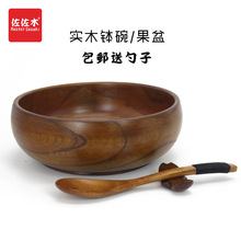 Free shipping Retro Style chinese/japanese style Rice/Noodles/Sushi/Food/Sugar/Soup/Fruits wood bowl Give a spoon 15.5*7.5cm