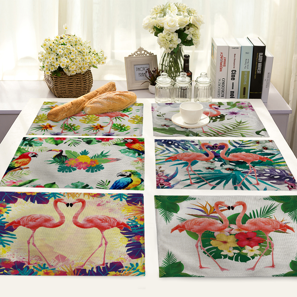 Creative colorful Flamingo Printed Table Napkin For Wedding Set Bowl Dining Mats 42*32cm Kids Table Set Home Decoration
