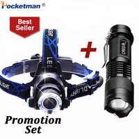 Conjunto de promoção! 6000lm cabeça lâmpada led farol t6 cabeça luzes faróis + q5 mini lanterna 2000lm zoom pesca viagem lanterna