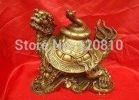Belle Chinois En Laiton Statue Serpent Sur Dragon Tortue