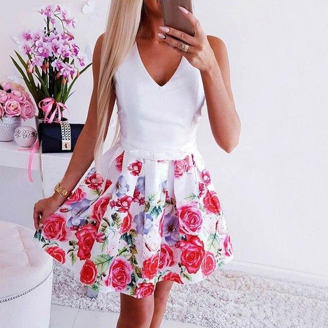 Sexy Women Summer Dress Deep V-neck Floral Print Dress Vintage Sleeveless Party Evening Dresses Vestidos Plus Size