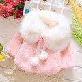 Autumn Winter Baby Girls Clothes Faux Fur Pearls Fleece Lapel Collar Infant Kids Outerwear Princess Jacket Coats Baby Cloak