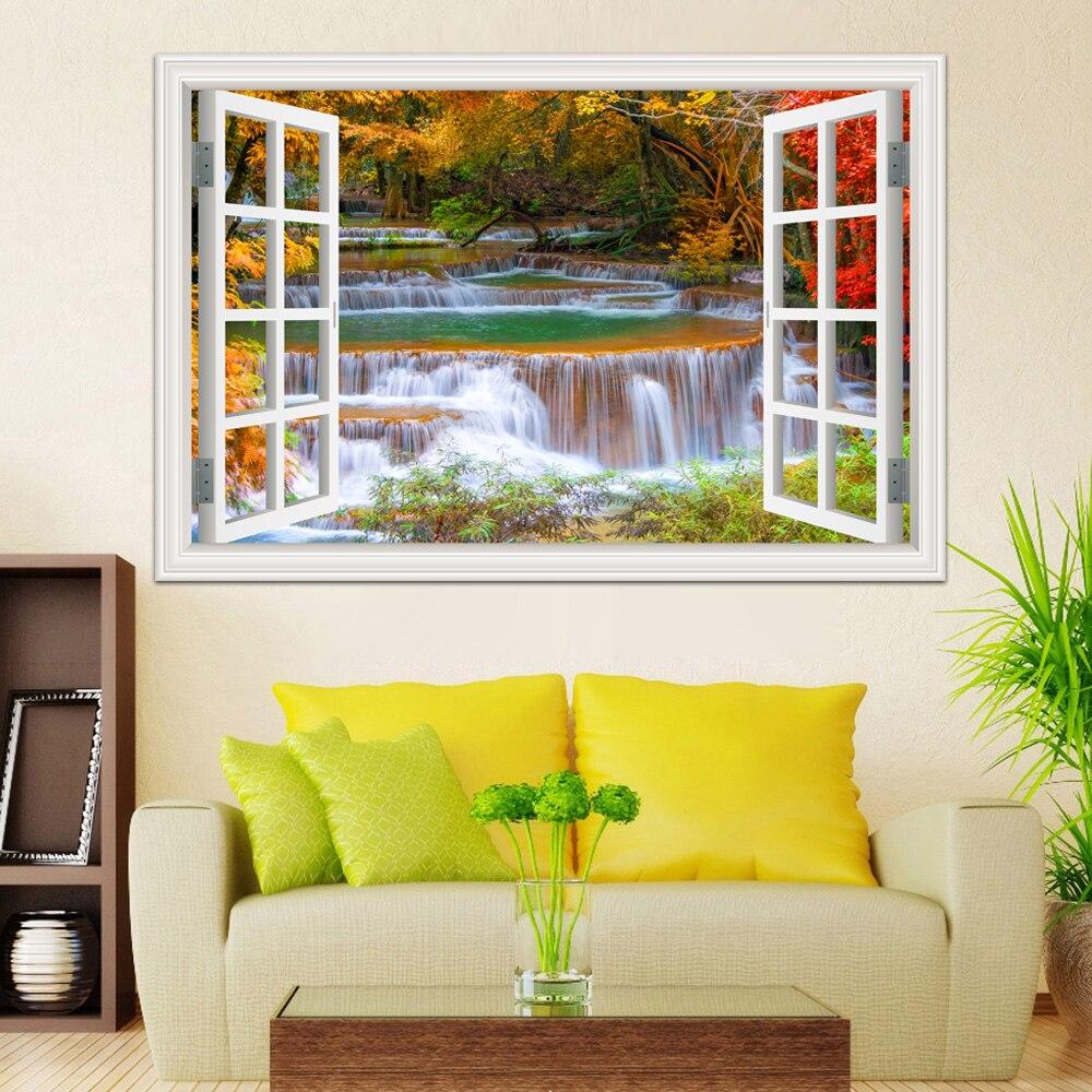 3D Window View Wall Sticker Decal Sticker Home Decor Living Room ...