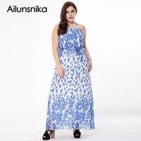 Ailunsnika Summer 2017 Women White Chiffon Floral Print Long Dress Women A Line Sundress Sleeveless Halter