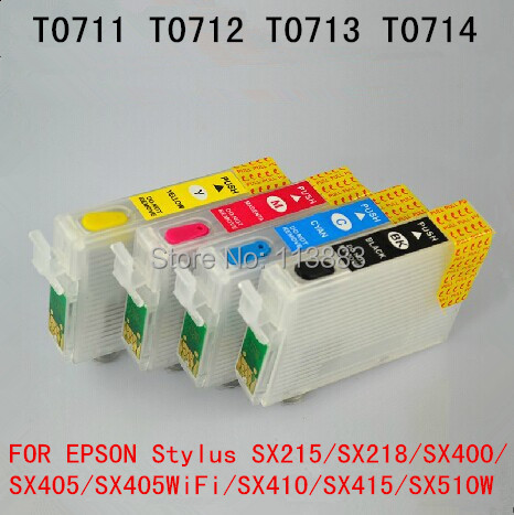 71 T0715 T0711 Refillable Ink Cartridge For EPSON Stylus SX215/SX218/SX400/SX405/SX405WiFi/SX410/SX415/SX510W SX515W Printer
