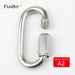 6 PC 304 Stainless Steel Quick Links D Shape Locking Quick Chain Repair Links 4 M8 2 M6
