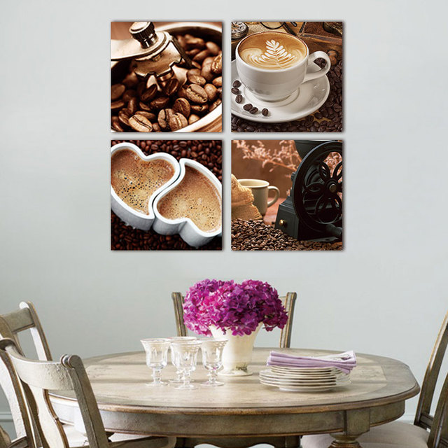 Picture Wall Art Print Canvas Painting 4 Pcs Coffee Kitchen Modern Abstract Pictures
