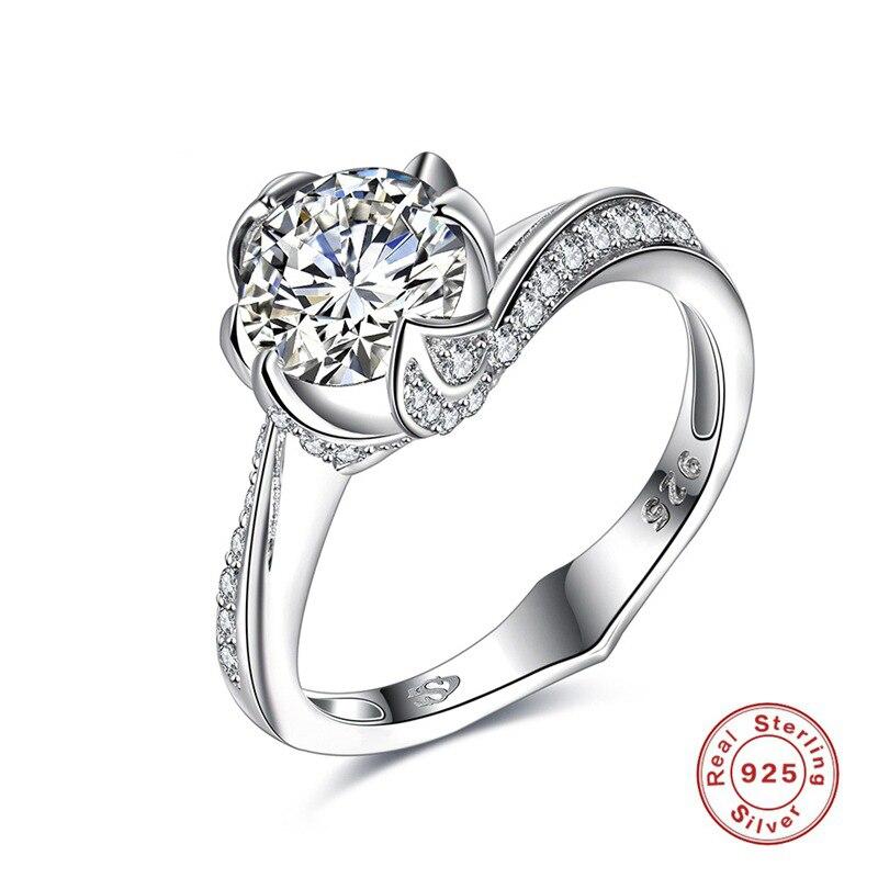 VOGEM official store VOGEM Four Leaf Flower Ring 925 Sterling Silver AAA CZ 9cm Cubic Zirconia Rings For Women Accessories Bridal Wedding bague femme
