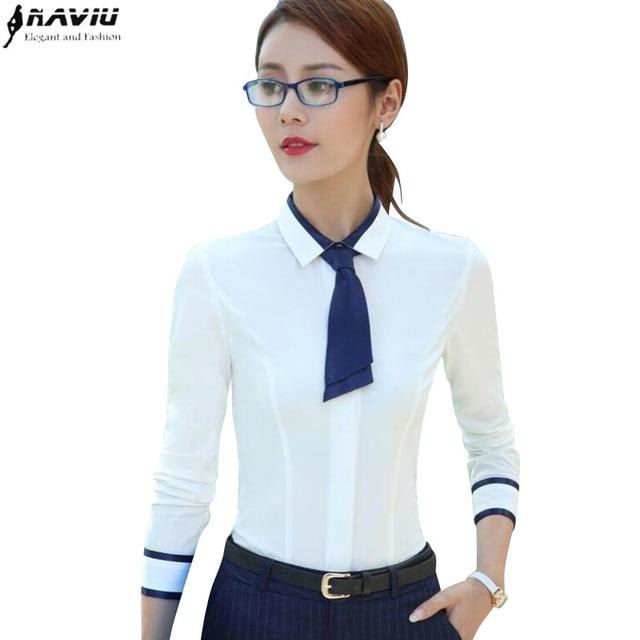 Printemps eté mode femme chemise à manches longues mince Patchwork noeud  papillon femmes chemisier blanc bureau ac6f14316509