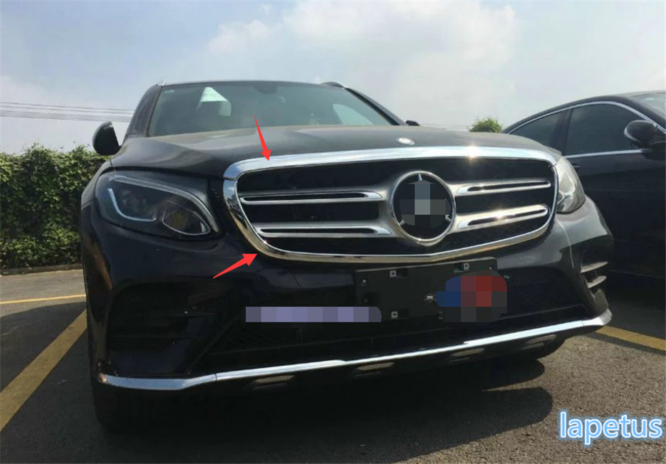 For Mercedes-Benz GLC Sport 2016 2017 ABS Front Head Grille Grill Decoration Molding Cover Trim 2 Pcs / Set