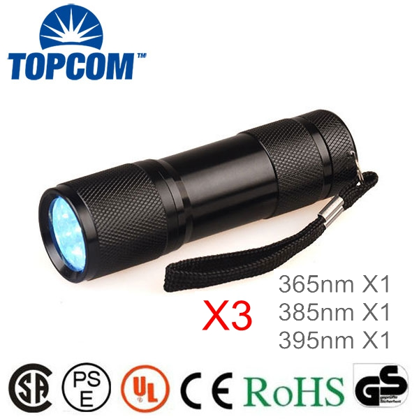 3PCS TOPCOM 9 LED UV Flashlight 365nm 385nm 395nm Ultra Violet Blacklight Torch <font><b>Light</b></font>