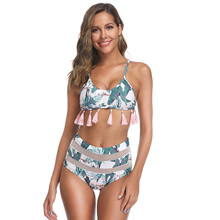 Sexy 2019 Mesh High Waist Triangle And Leaf Print Tassel Swimwear Women Leaf Printed Chest Pad New Bikini Set Wire Free S to XL