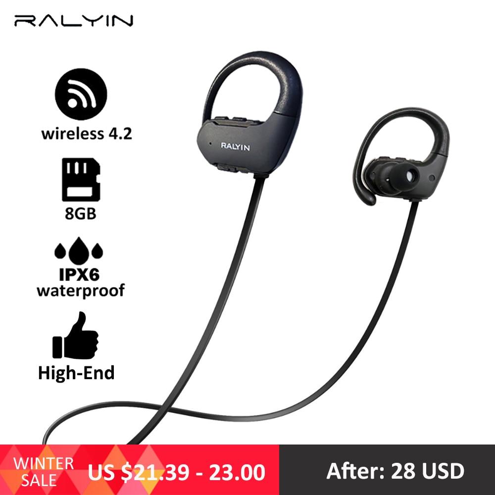 Ralyin mp3 player 8GB sport waterproof bluetooth music player bluetooth earphone bluetooth headphone wireless earphone for phone