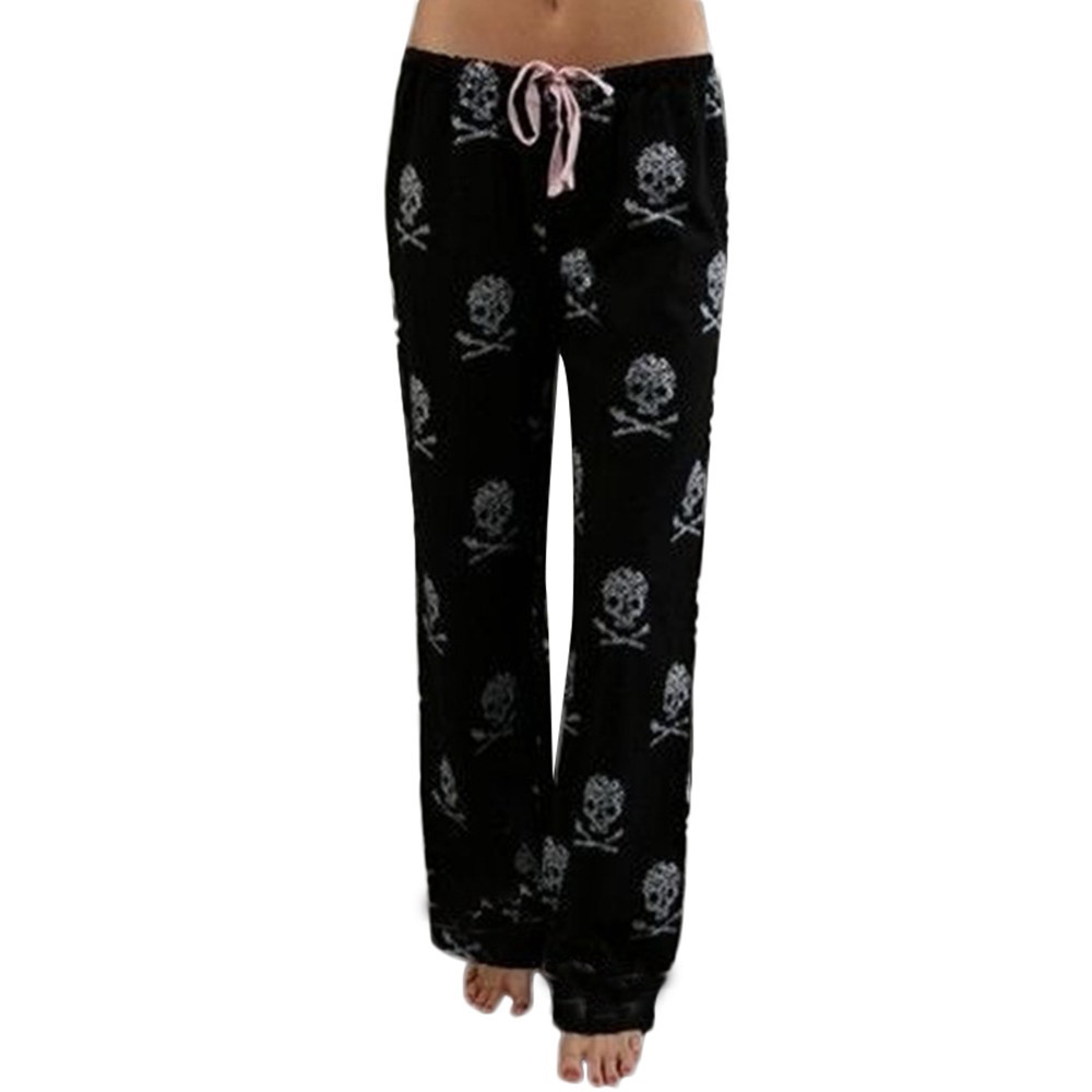 Polyester Women Lady Causal Daily High Waist Skull Print Wide Calf Length Long Leg Pants Women's plus size Harajuku Pants c0404 3