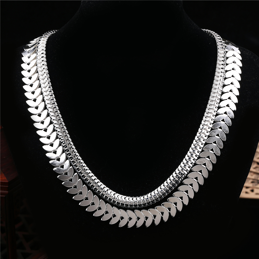 Fine Wedding Double Snake Chain Necklace For Women Gold Silver Plated Costume Jewelry Maxi Charms Dress Accessories