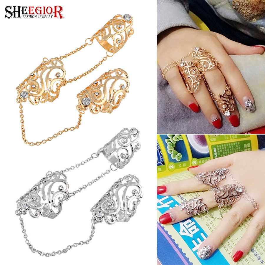 Lovely Punk Rhinestone Long Rings for Women Mens Accessories Golden Silver Hollow Leaf 2 Fingers Chain Ring Fashion Jewelry Gift